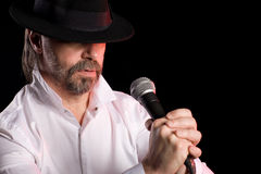 Singer performs American jazz blues Stock Photo