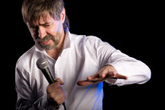 Singer performs American jazz blues Royalty Free Stock Images