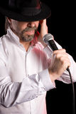 Singer performs jazz blues Royalty Free Stock Photography