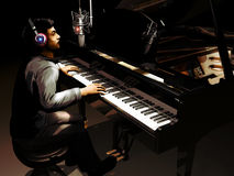 Singer at piano in a studio Stock Photo