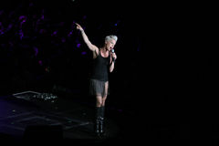 Singer Pink performs onstage. SYDNEY - JUNE 7: Singer Pink performs onstage at Sydney Entertainment Centre June 7, 2007 in Sydney, Australia Royalty Free Stock Photography