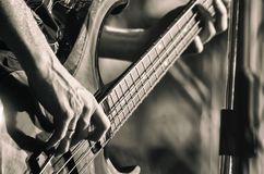 The singer plays bass guitar on stage during a rock concert. black and white photo.  stock image
