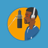 Singer recording song vector illustration. Stock Photos