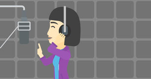 Singer recording song vector illustration. Stock Image