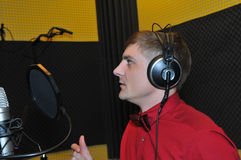 Singer, recording songs in the Studio Royalty Free Stock Images