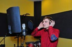 Singer, recording songs in the Studio Stock Image
