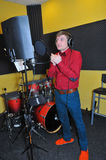 Singer, recording songs in the Studio Stock Photography