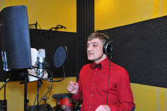 Singer, recording songs in the Studio Stock Images
