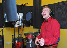 Singer, recording songs in the Studio Royalty Free Stock Photo