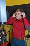 Singer, recording songs in the Studio Stock Photo