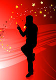 Singer on Red Background Stock Images