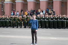 Singer at rehearsal of Military Parade Royalty Free Stock Photography