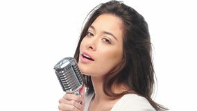 Singer with the retro microphone stock footage