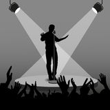 Vector silhouette singer singing in retro style on the stage with his arms viewers Stock Photo