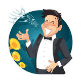 Singer sing with orchestra Royalty Free Stock Image