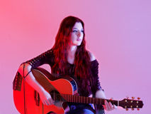Singer Songwriter. Russian singer songwriter MarinaV royalty free stock images