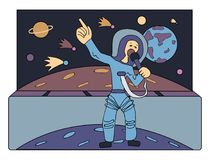 Singer in space in front of comets and planets. Guide across the Univers. Occupations of the future. Comic vector. Singer in space in front of comets and planets Royalty Free Stock Image