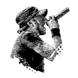 Singer in the style of engravings stock illustration