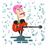 Singer in Suit with Bass Guitar. Vector Flat Design Pink Punk Hair Musician Surrounded By Notes Stock Photography