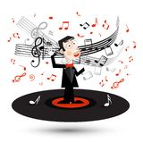 Singer in Suit Spinning on Vinyl Record with Notes Isolated royalty free illustration