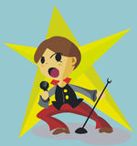 CUTE BOY SINGING CARTOON Royalty Free Stock Images