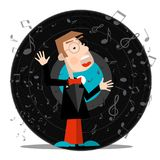 Singer with Vinyl Record. Vector Music Symbol with Notes Royalty Free Illustration