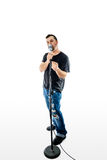 Singer Vocalist  on White pointing gesturing Stock Images
