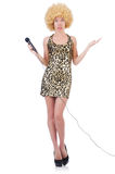 Singer  woman with mic Royalty Free Stock Images