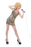 Singer  woman with mic Stock Images