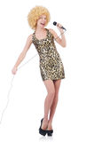 Singer  woman with mic Stock Photos