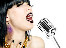 Singer woman with microphone Stock Image