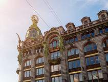 Singer -Zinger- House on Nevsky Prospect in the historic center of St Petersburg, Russia. Also widely known as the House of Books. Detailed closeup view of St Stock Photos