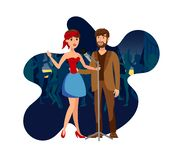 Singers Duet at Night Club Party Flat Illustration. Two Vocalists with Microphone Cartoon Characters. Cheerful Couple Enjoy Karaoke Party. Pop Band Performing royalty free illustration