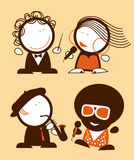 Singers funny people. Set of singers funny people icons Royalty Free Stock Images