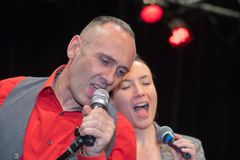 Singers having duet on stage Stock Image
