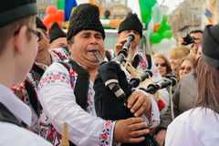 Singers on the Irish festival in Bucharest , Romania. Mans who sing at bagpipe at Irish festival in Bucharest Stock Photo