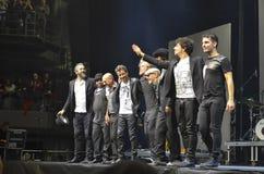 Singers Niccolò Fabi, Daniele Silvestri and Max Gazzè thanks t Stock Photo