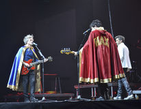 Singers Niccolò Fabi, Daniele Silvestri and Max Gazzè on stage Stock Photos