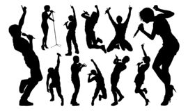 Singers Pop Country Rock Hiphop Star Silhouettes. A set of high quality silhouette singer pop, country music, rock stars and hiphop rapper artist vocalists stock illustration