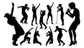 Singers Pop Country Rock Hiphop Star Silhouettes. A set of high quality silhouette singer pop, country music, rock stars and hiphop rapper artist vocalists vector illustration