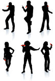 Singers Silhouette Collection Royalty Free Stock Image