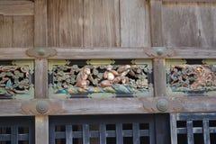 3 singes dans le temple de Nikko Toshougu, Tochigi, Japon Image libre de droits