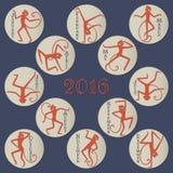 Singes de danse pour le calendrier illustration stock
