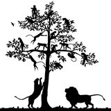 Singes et lions illustration libre de droits