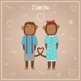 Singes romantiques de couples Image libre de droits