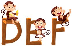 Singes sur l'alphabet anglais illustration stock