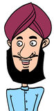 Singh man. Sketch cartoon illustration of a singh man with blue shirt vector illustration