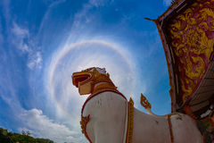 Singha, Lion Statue in front of Mon temple in Sangklaburi, Kanch Stock Photo