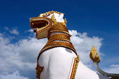 Singha, Lion Statue in front of mon temple Royalty Free Stock Photo