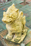 Singha, Lion Statue at the temple in northern Thailand. Royalty Free Stock Photography